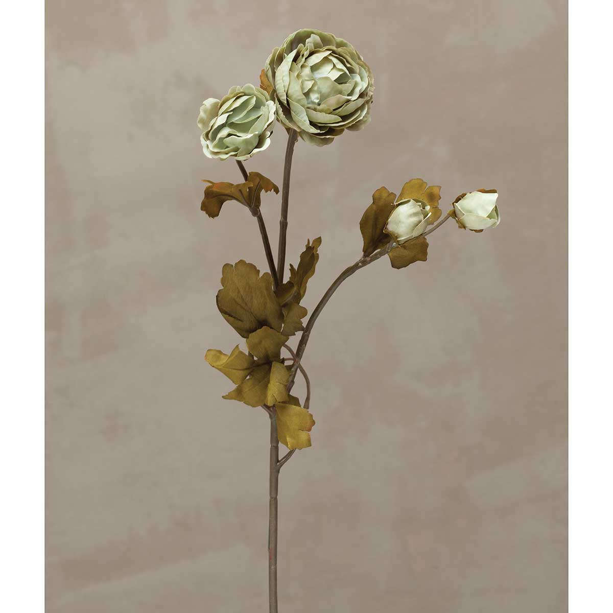 Silk Ranunculus with Faux Leaves