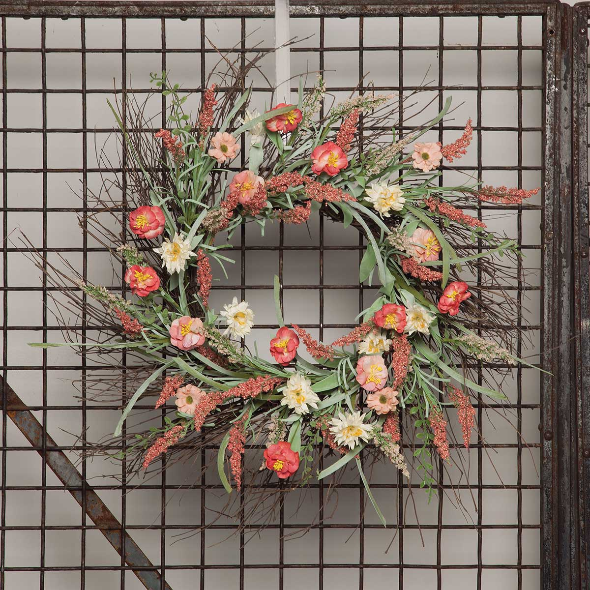 "Blossom Oval Wreath 24"" (Inner Ring 9.5"") Coral"