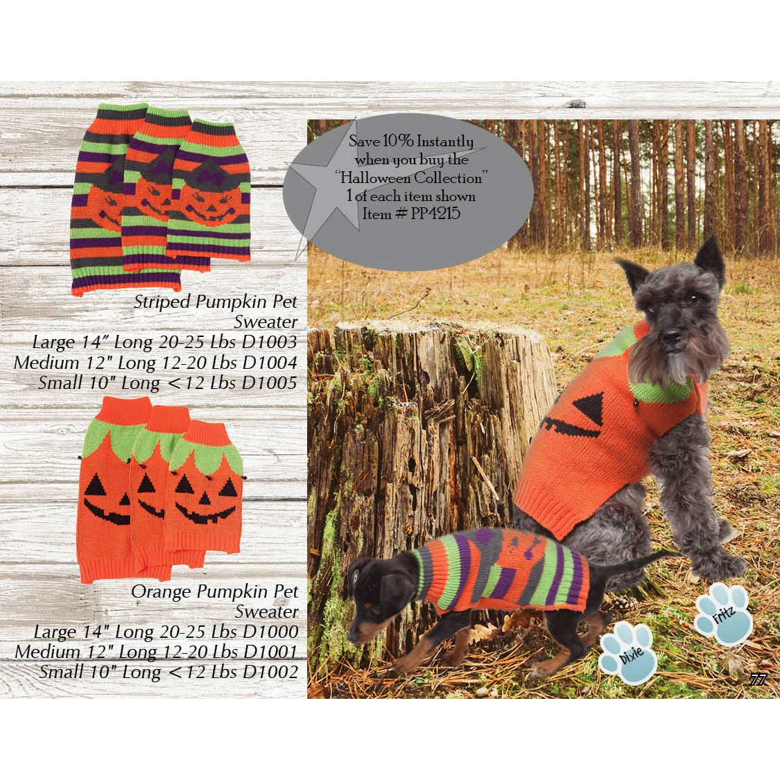 Halloween Puppy/Dog Sweater Collection PP4215