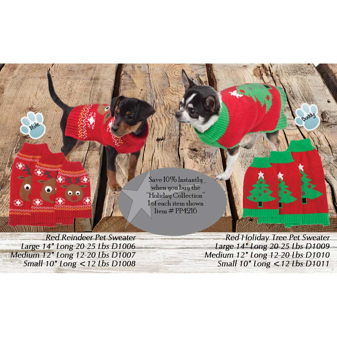 Paws Holiday Sweater Collection PP4216