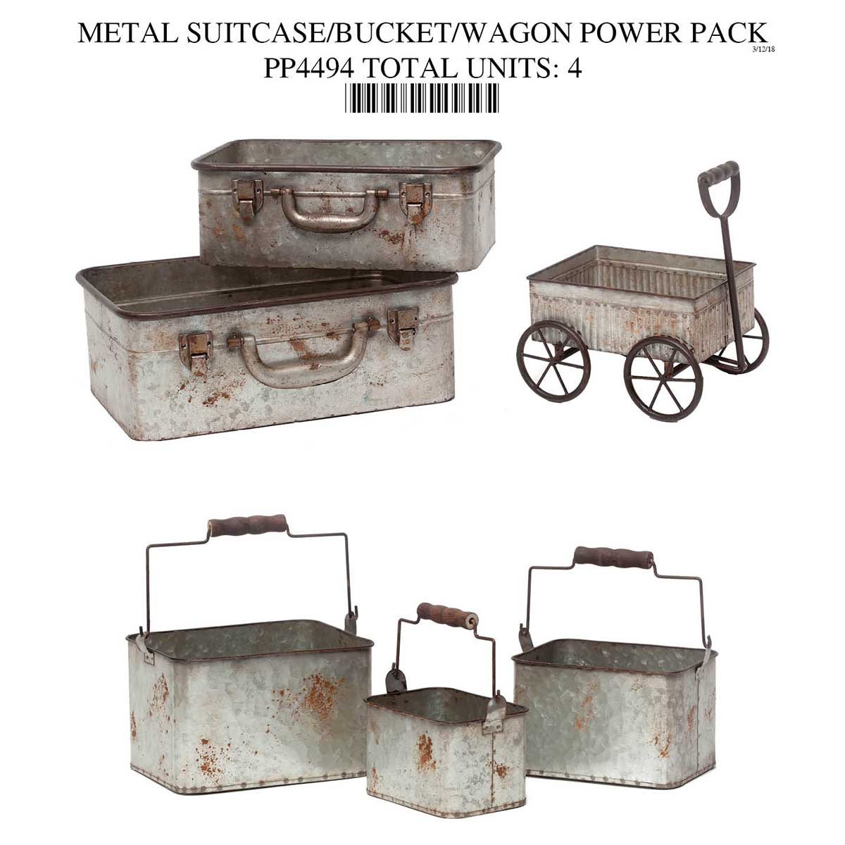 METAL SUITCASE/BUCKET/WAGON POWER PACK 4 UNITS