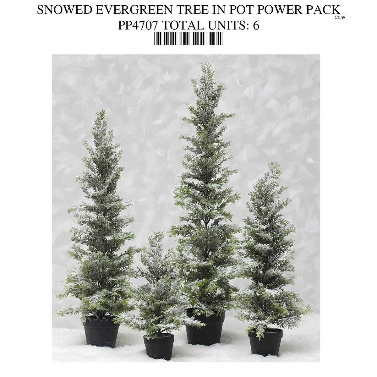 TREE WITH SNOW IN POT POWER PACK 6 UNITS