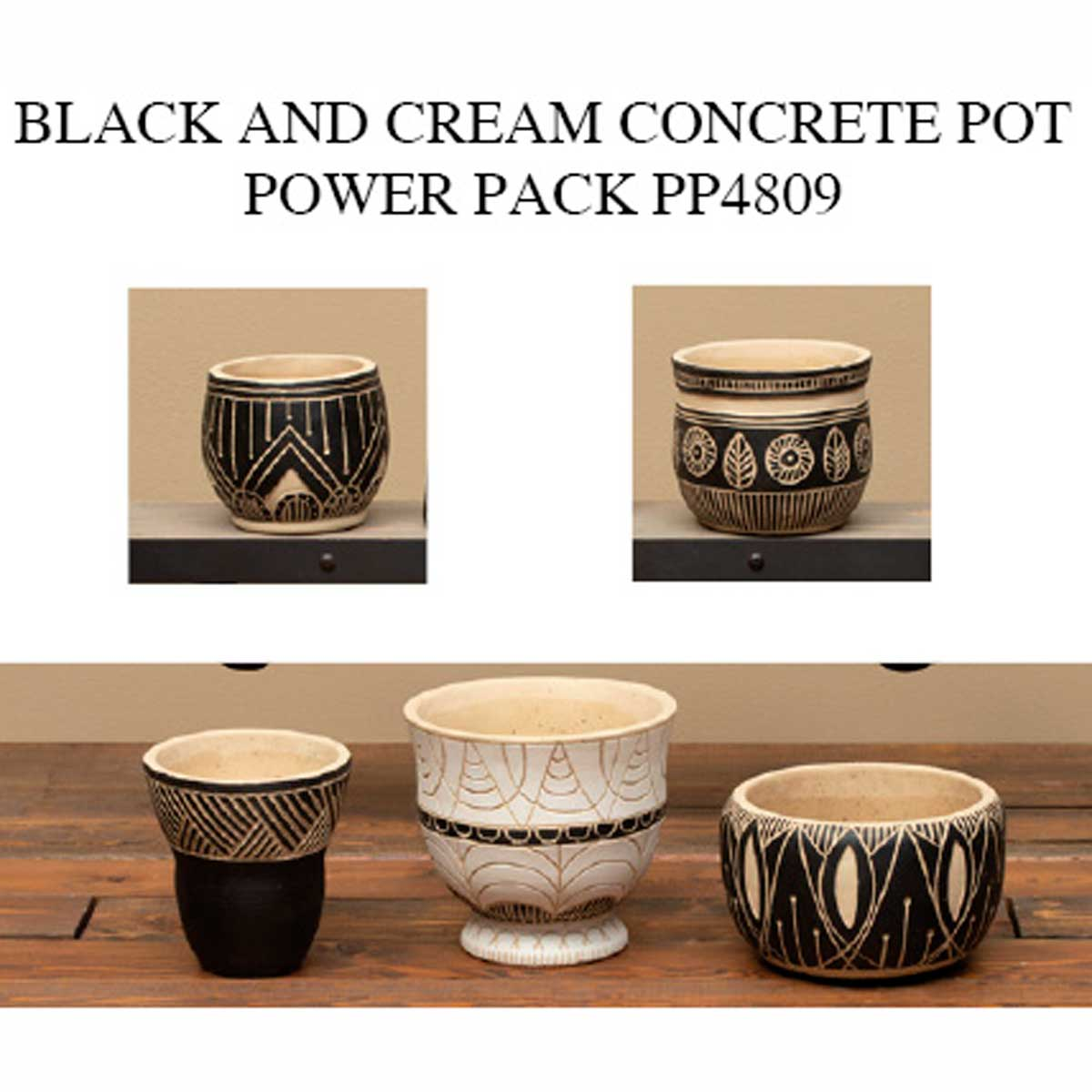 BLACK/CREAM/CLAY CONCRETE POT POWER PACK 14 UNITS