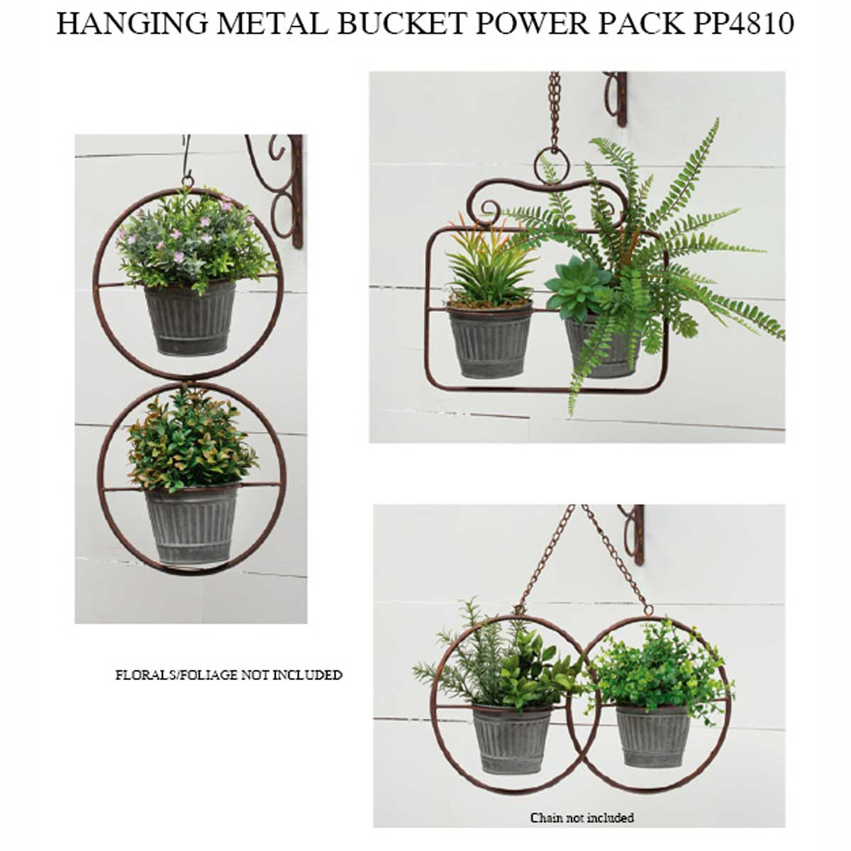 METAL BUCKET HANGING PLANTER POWER PACK 3 UNITS