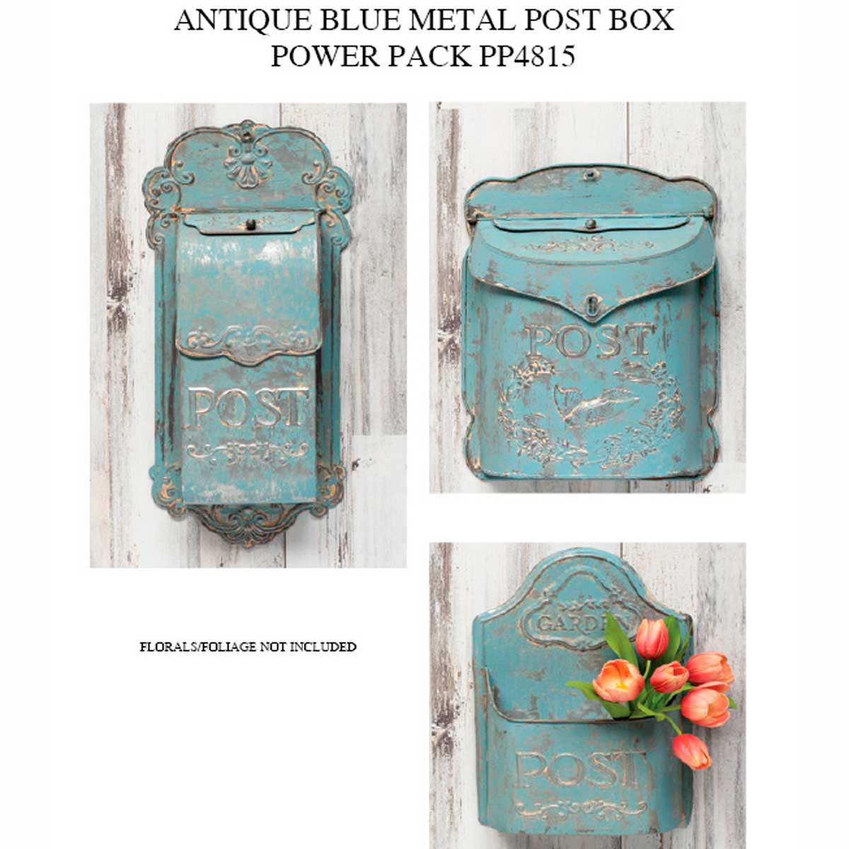 ANTIQUE BLUE METAL POSTBOX POWER PACK 3 UNITS