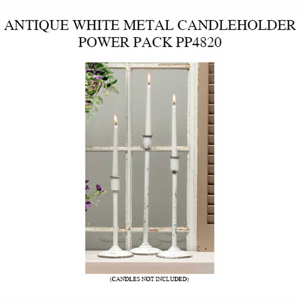 METAL COTTAGE ANTIQUE WHITE CANDLEHOLDER POWER PACK 6 UNITS