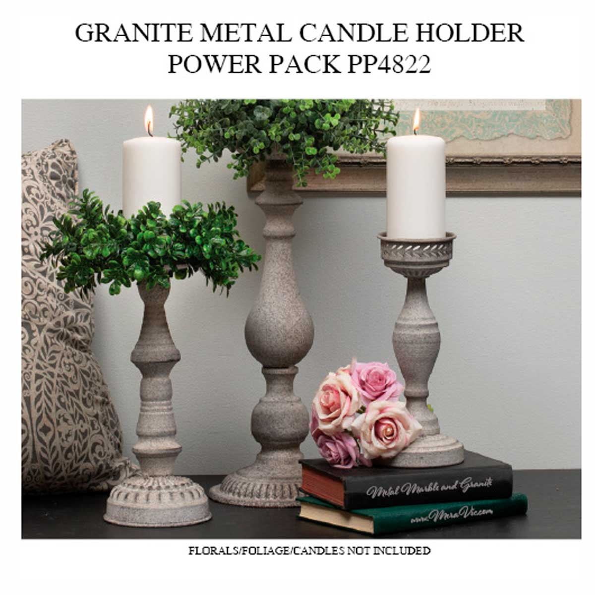 METAL GRANITE FINISH CANDLEHOLDER POWER PACK 5 UNITS