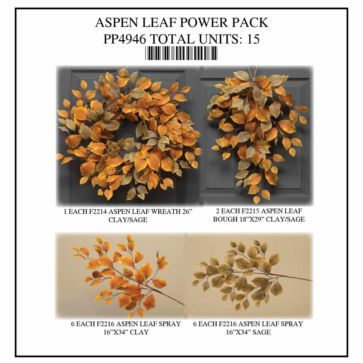 ASPEN LEAF POWER PACK 15 UNITS PP4946