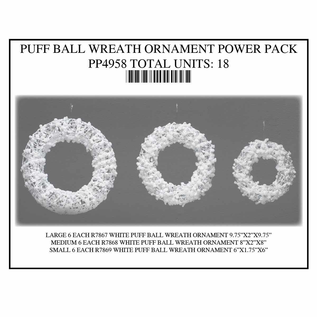 WHITE WREATH PUFF BALL Power Pack 18 Units