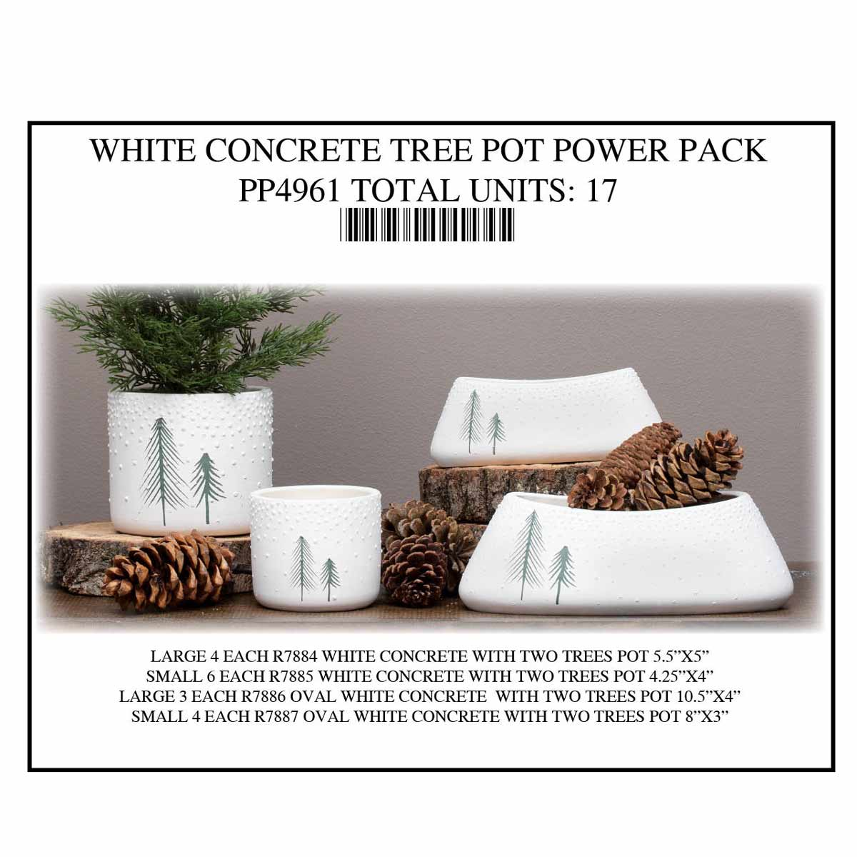 POT WHITE WITH TREE DESIGN POWER PACK 17 UNITS