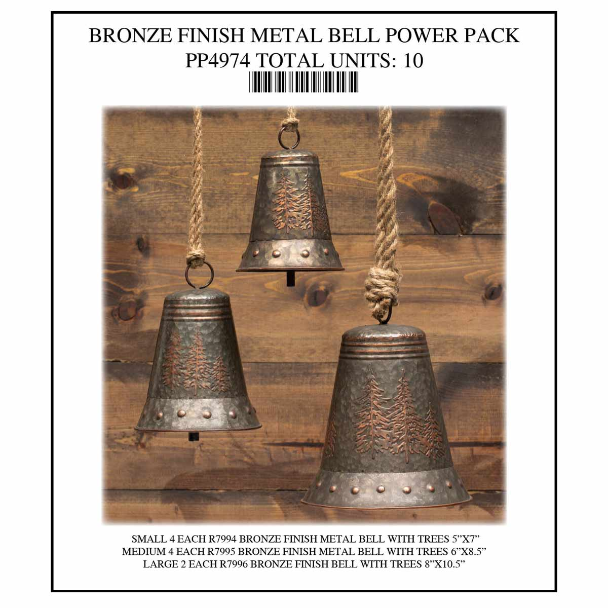 NORTHWOODS BRONZE BELL POWER PACK 10 UNITS PP4974