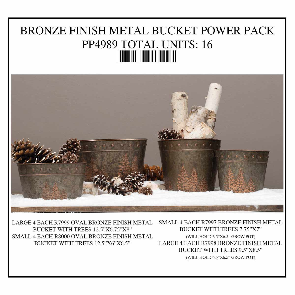 BUCKET METAL BRONZE POWER PACK 16 UNITS