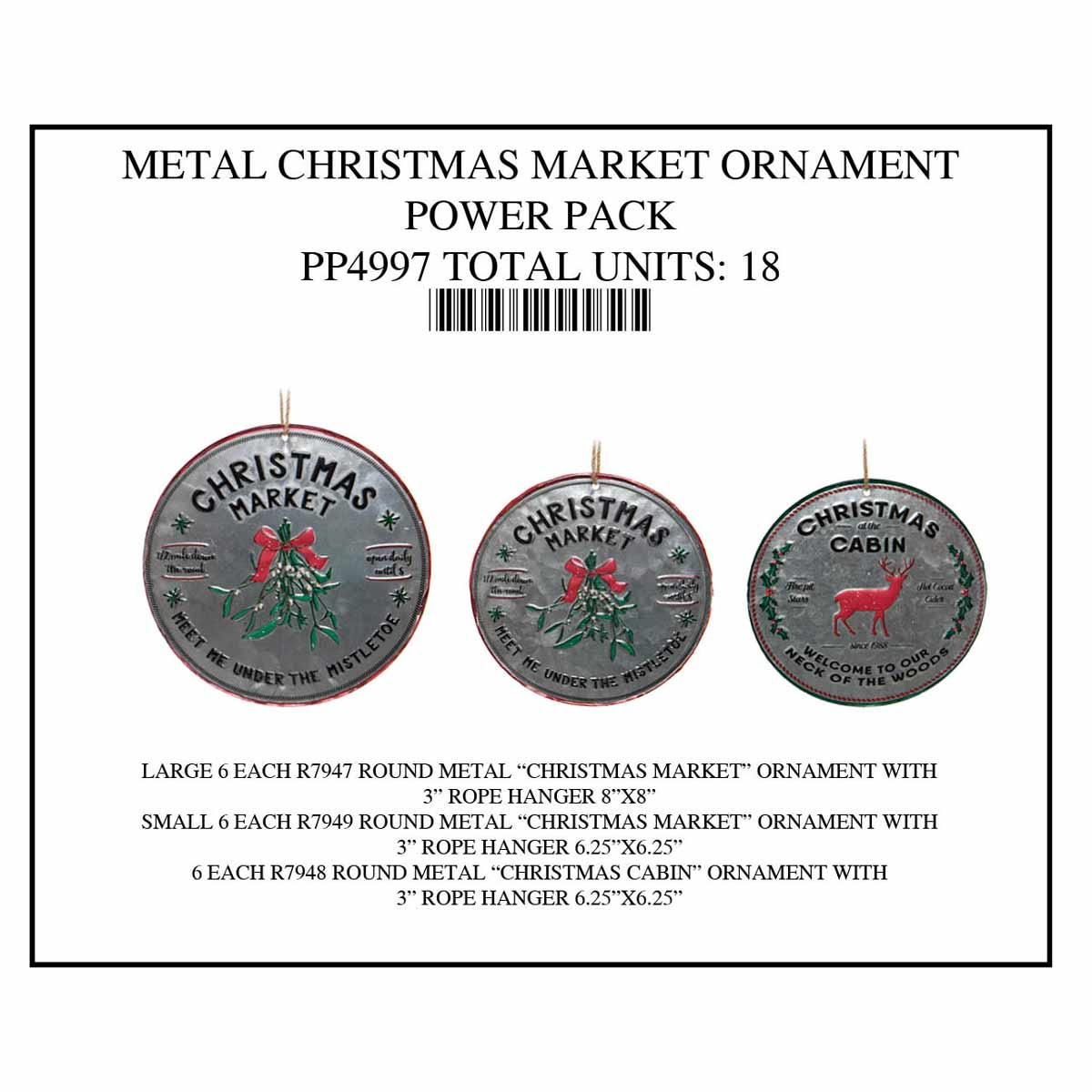 CHRISTMAS MARKET ORNAMENT POWER PACK 18 UNITS