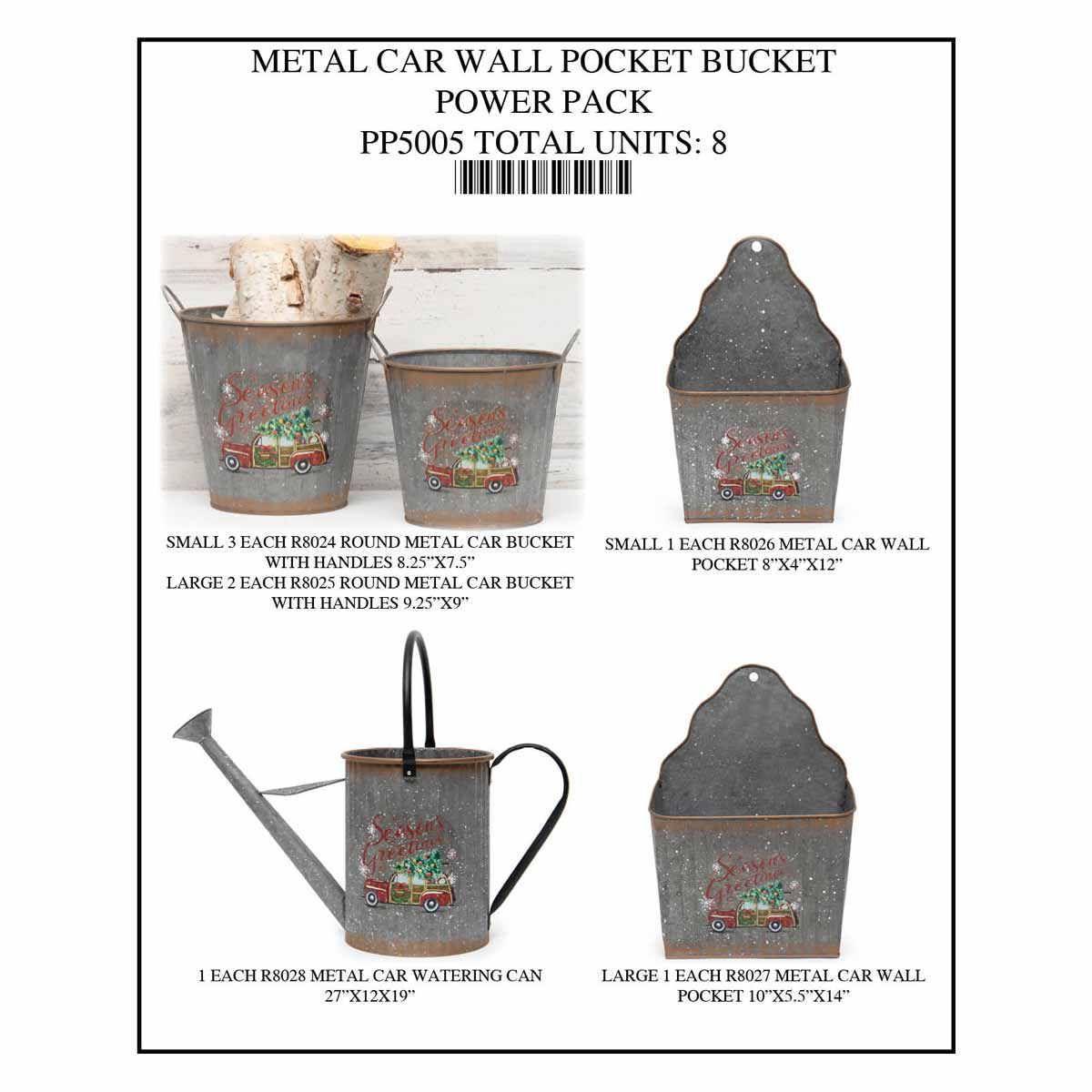 BUCKET WALL POCKET CAR POWER PACK 8 UNITS