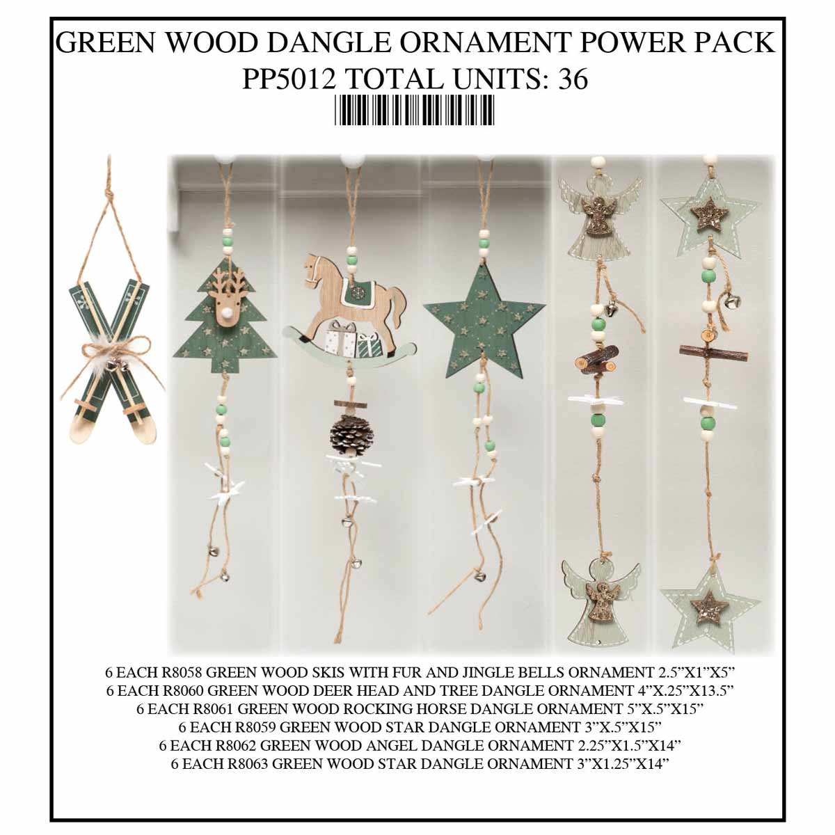 GREEN AND WHITE ORNAMENT POWER PACK 36 UNITS PP5012
