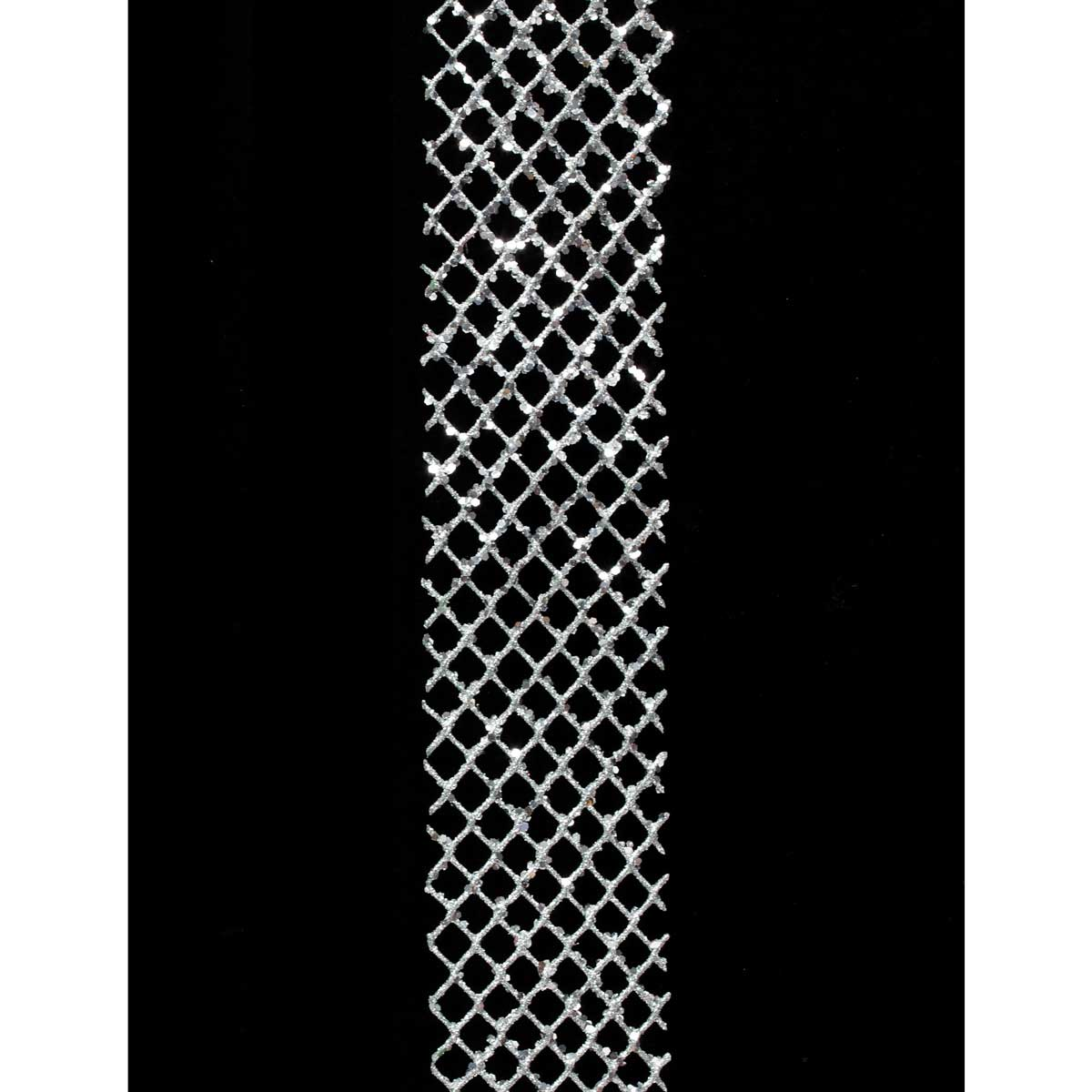 "R4771 Silver GLITTER NET RIBBON 4""X40""-EACH"