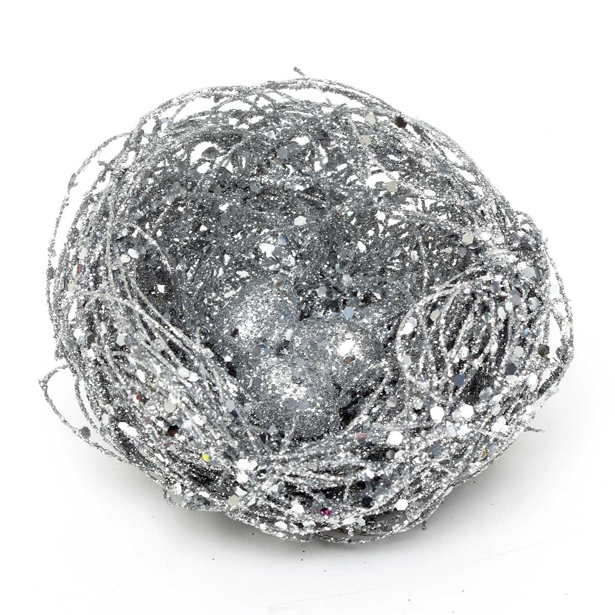 R4788 SI GLITTER NEST WITH EGGS ON CLIP SILVER EACH