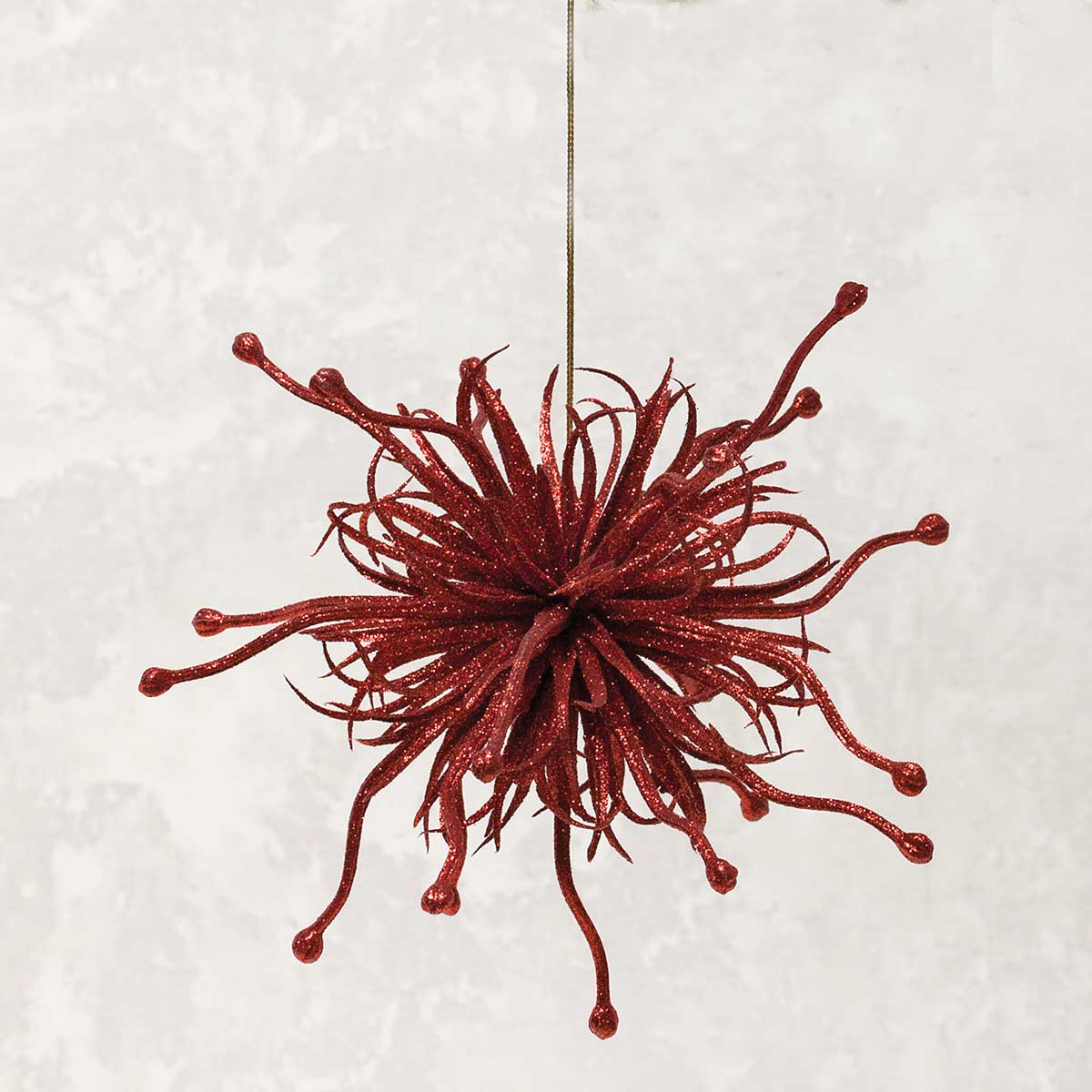 SQUIGGLY SPARKLE BALL ORNAMENT RED
