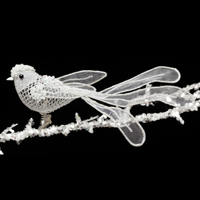 "R5032 WH JEWEL BIRD ON CLIP 7"" WHITE EACH"