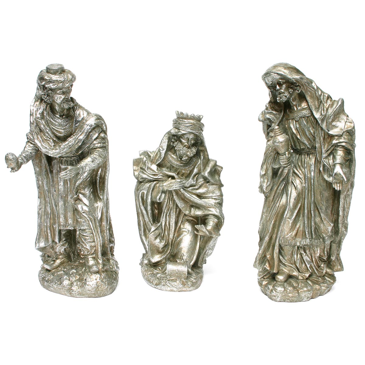 WISE MEN TABLETOPPER SET OF 3 ANTIQUE SILVER