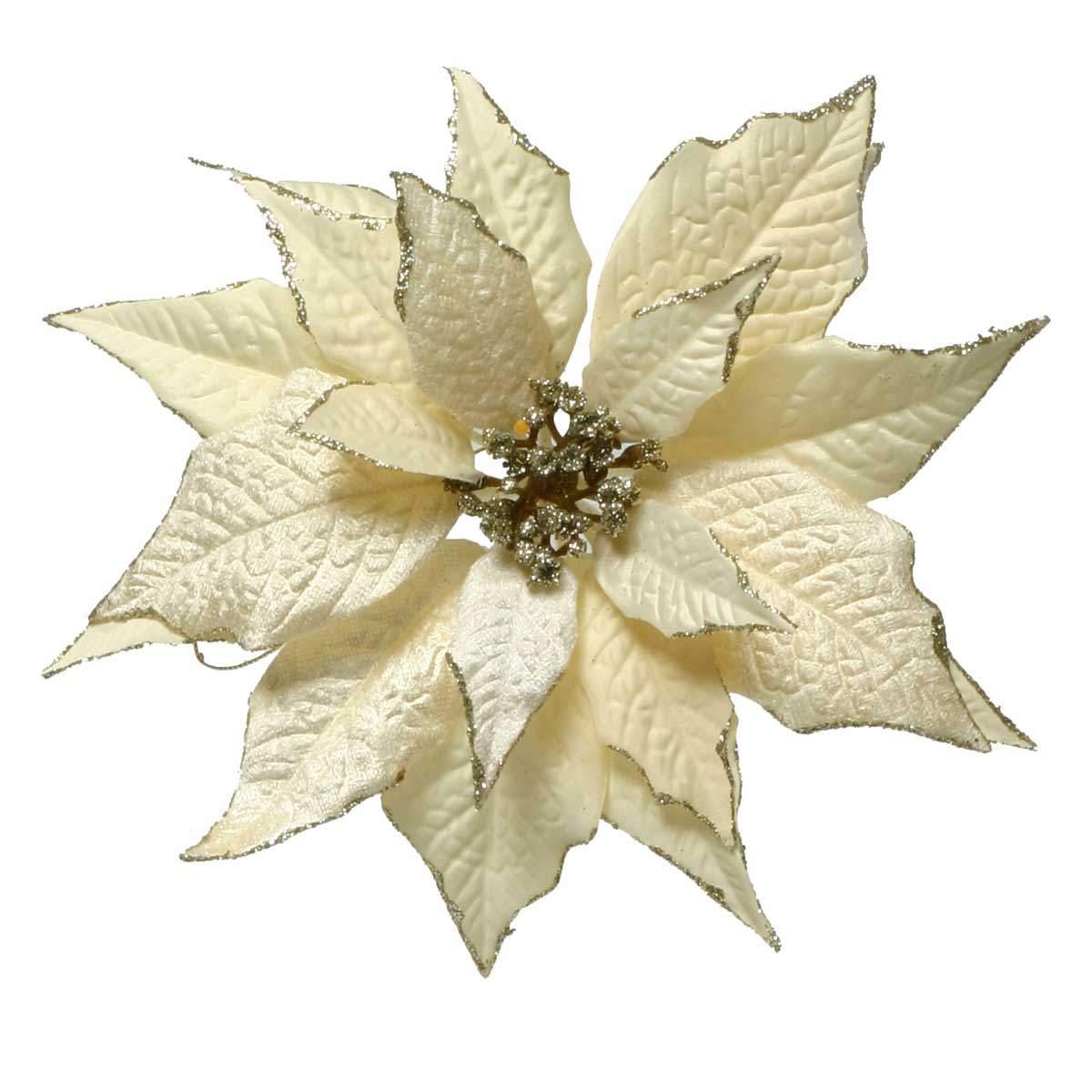 "R5082 CHAMPAGNE VELVET POINSETTIA ON CLIP 9"" - EACH"