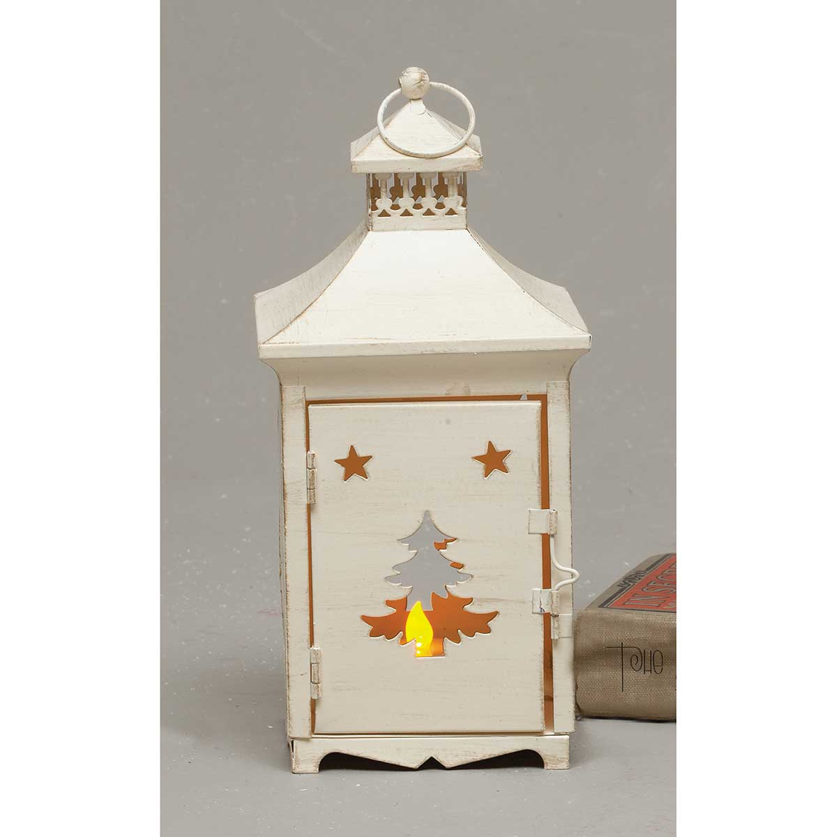 WHITEWASH LANTERN WITH CUTOUT SET OF 2 TREE/DEER