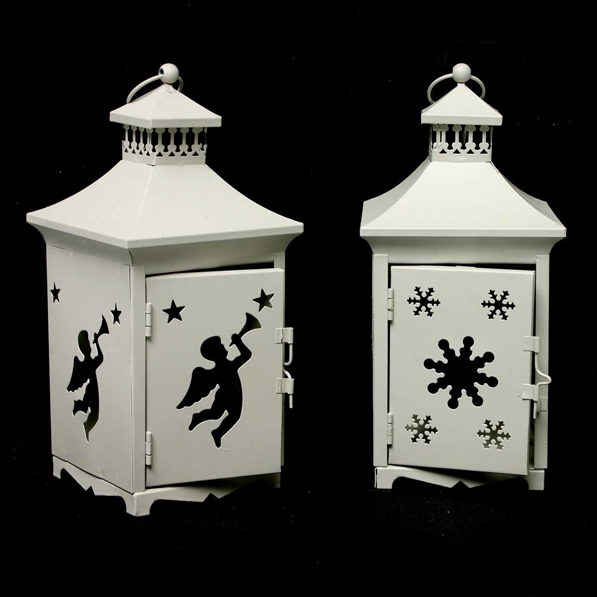 2 Piece Cherub/Snowflake Cutout Lantern Set