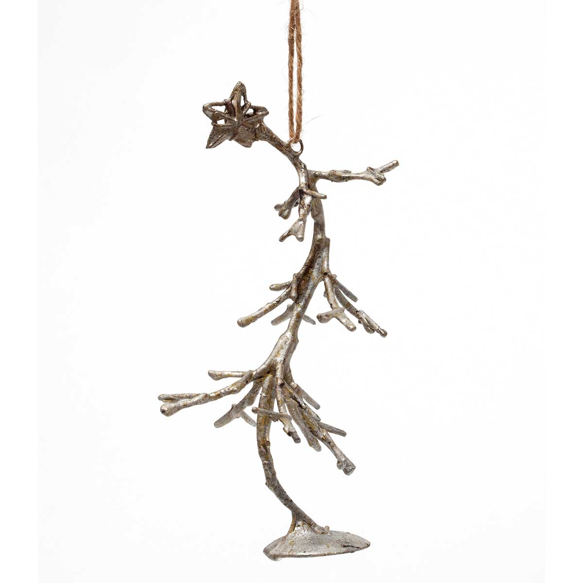 "R5462 SILVER WIRE WIND SWEPT TREE ORNAMENT 6.5"" - EACH"