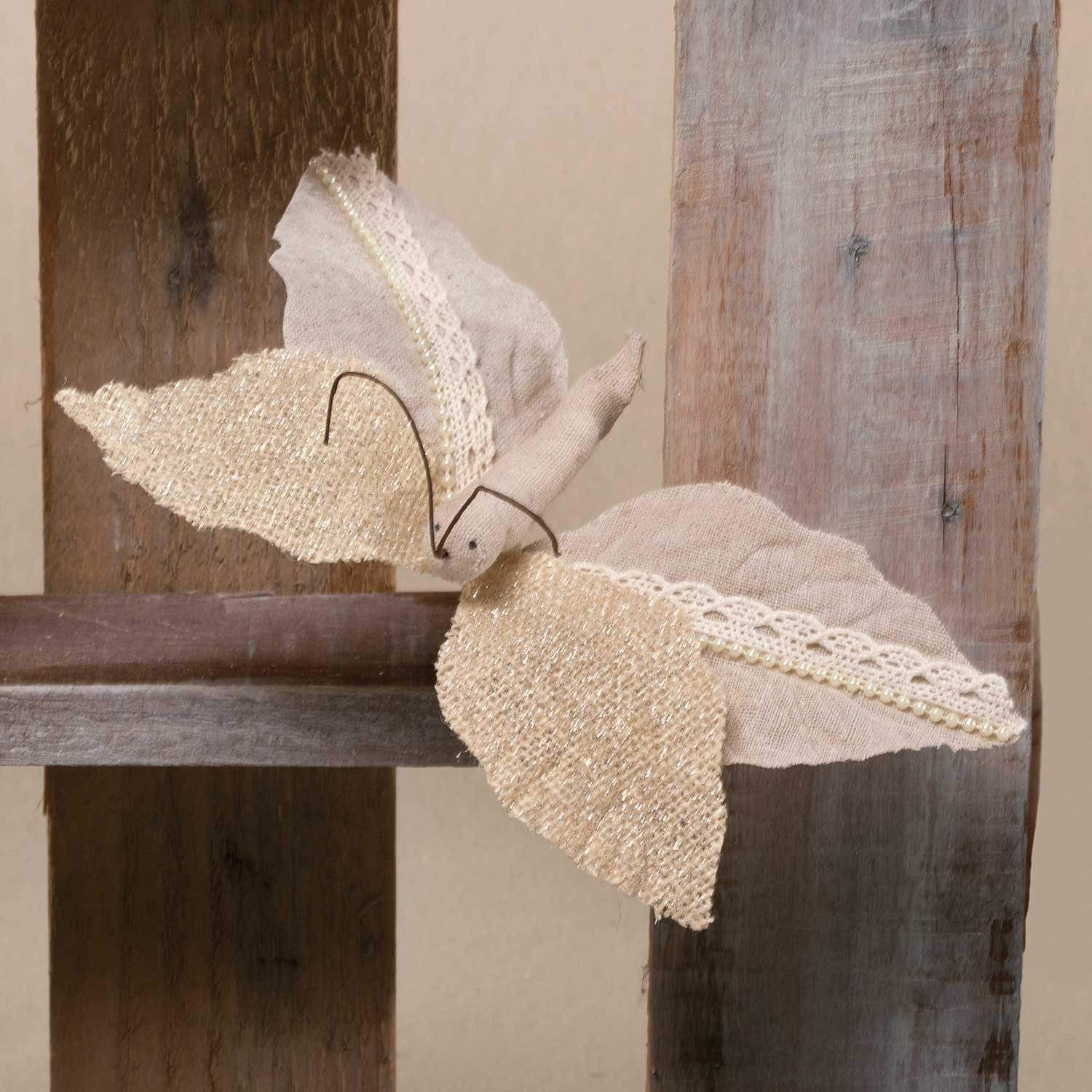 "R5568 CHANTILLY BURLAP BUTTERFLY 9"" *70sp"