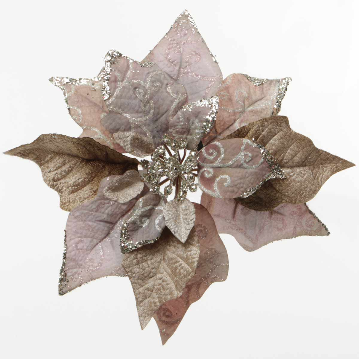 R5616 CHIC GRAY POINSETTIA CLIP 10.5""