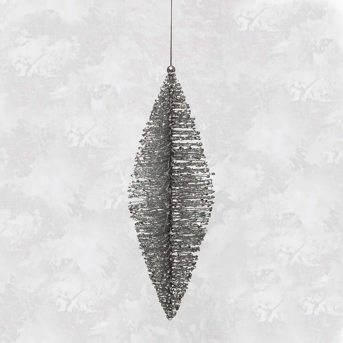 "R5638 SI BRISTLE PINE ORNAMENT LARGE 10"" SILVER"