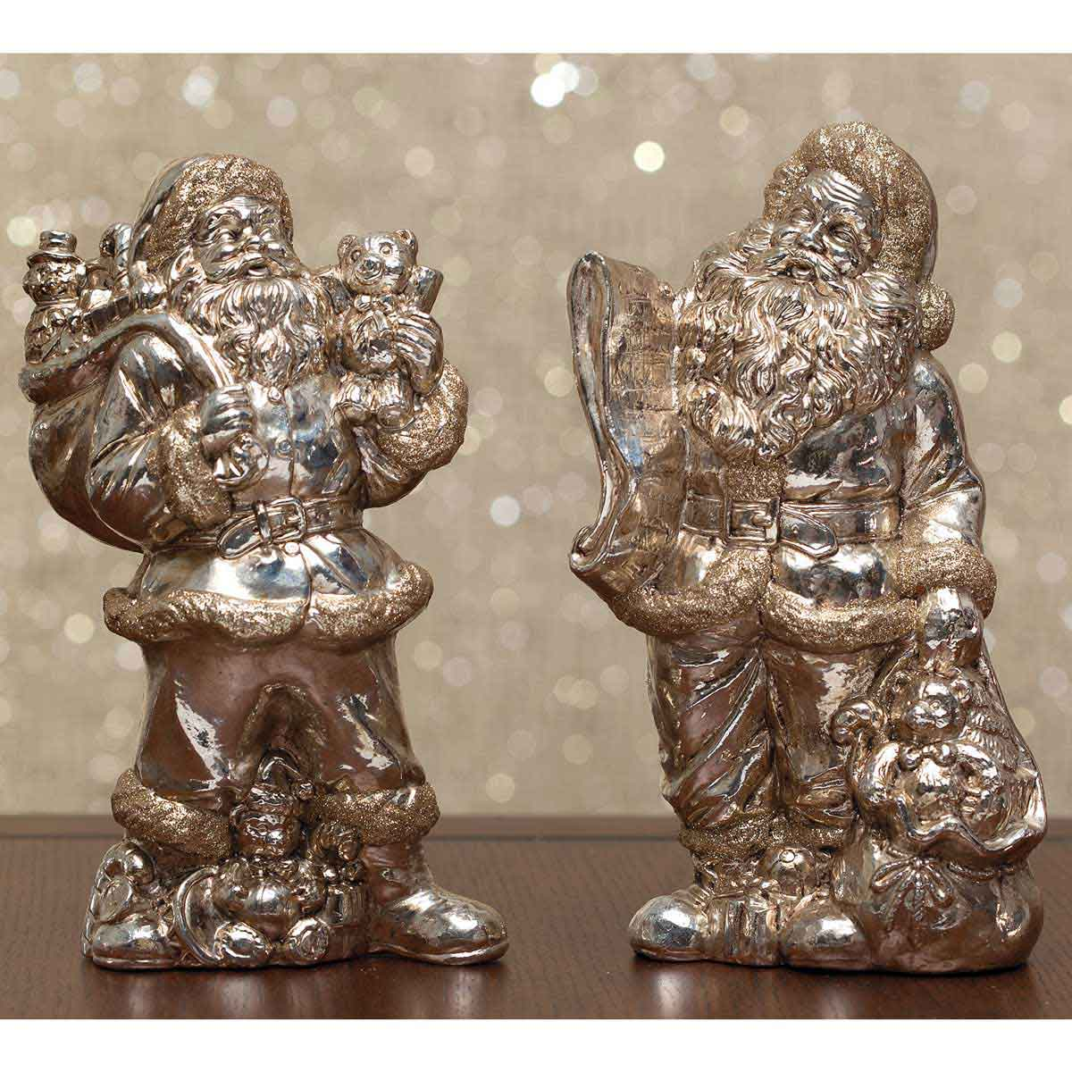 ROYAL SANTA TABLETOPPER SET OF 2 BEAR/LIST CHAMPAGNE