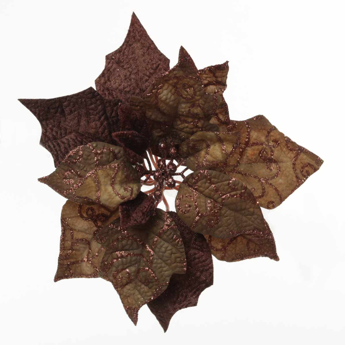 R5708 CHOCOLATE POINSETTIA CLIP 9.5""