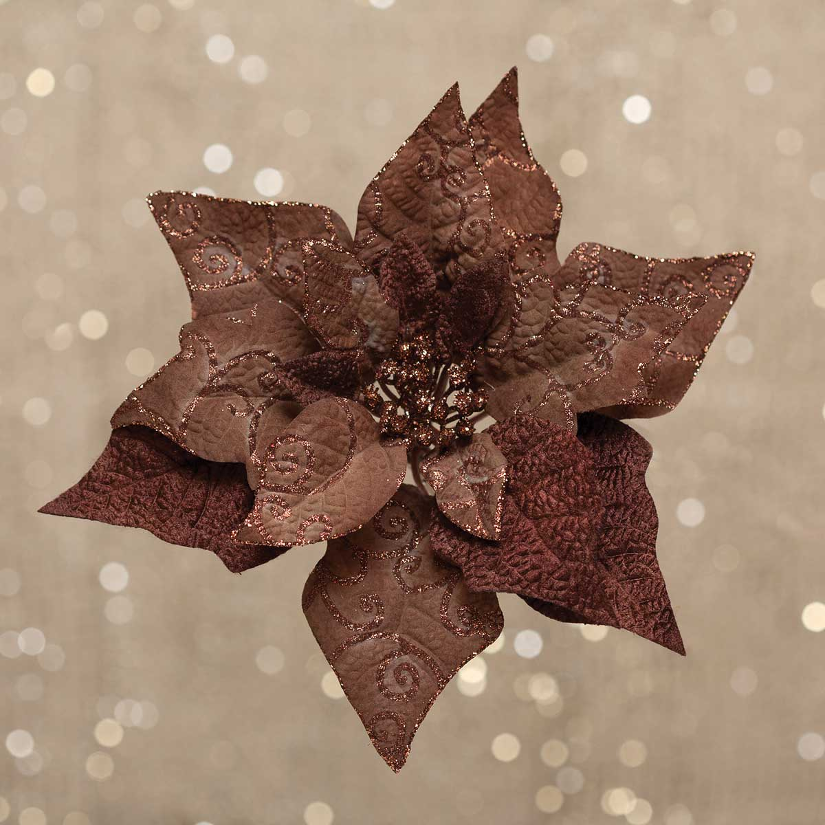 R5709 CHOCOLATE POINSETTIA CLIP LARGE 10.5""