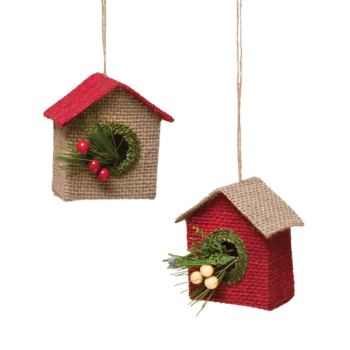 Burlap bird ornaments - R5737 Homespun Burlap Bird House Ornament 2 Assorted 4