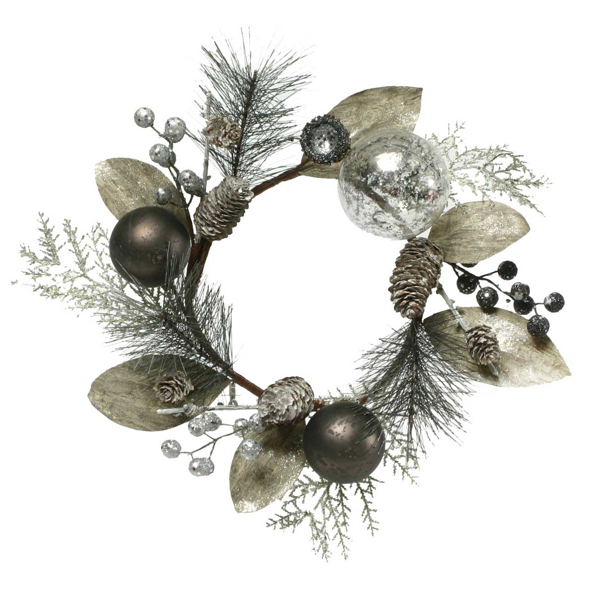 URBAN CHIC SILK CANDLE RING WITH PINECONES, BALLS, AND BERRIES