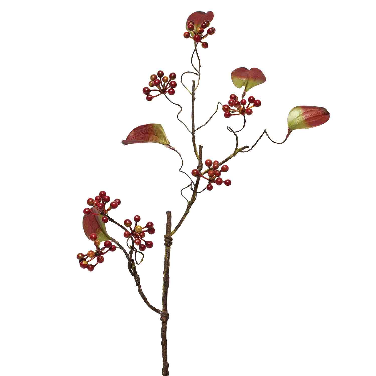 "BERRY SPRAY WITH LEAVES 27"" BURGUNDY"