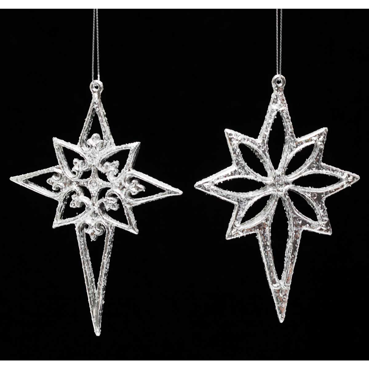 "NORTH STAR ORNAMENT SILVER 3.5"" 2 ASSORTED"