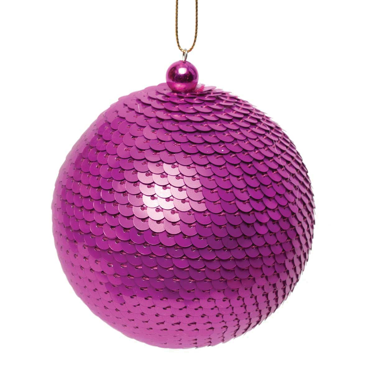 "SEQUIN BALL ORNAMENT 3"" MAGENTA *70sp"