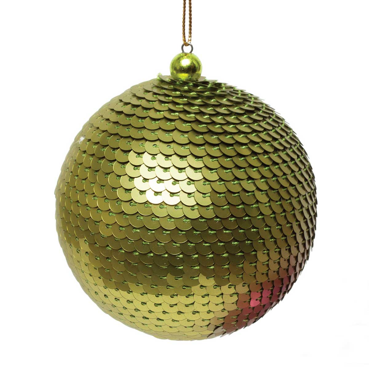 "SEQUIN BALL ORNAMENT 3"" GREEN *70sp"