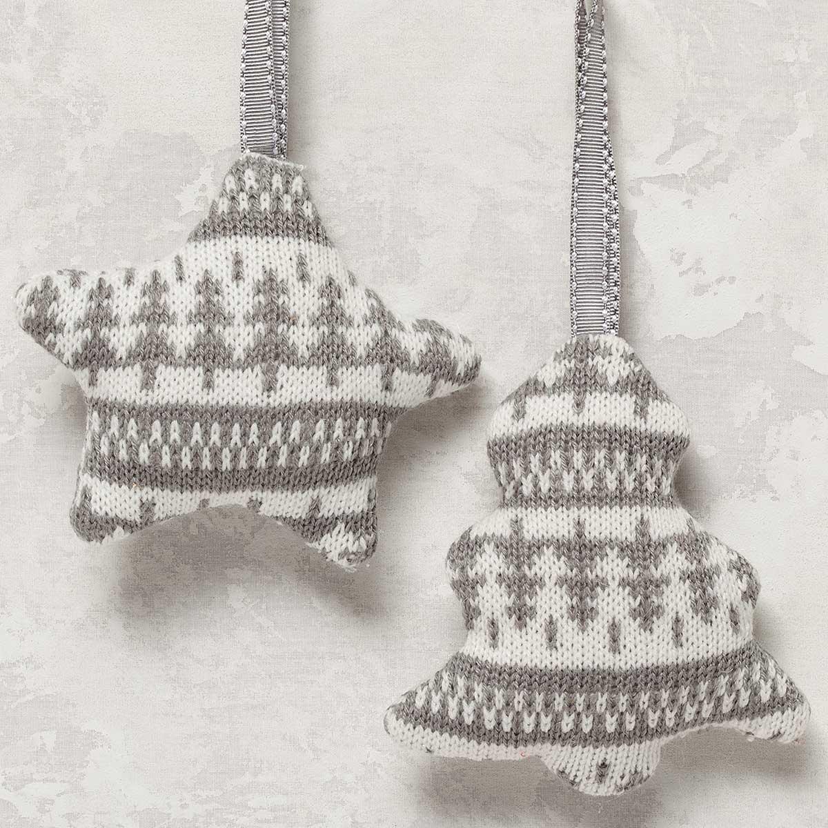 2 Piece Plush Knit Ornament Set