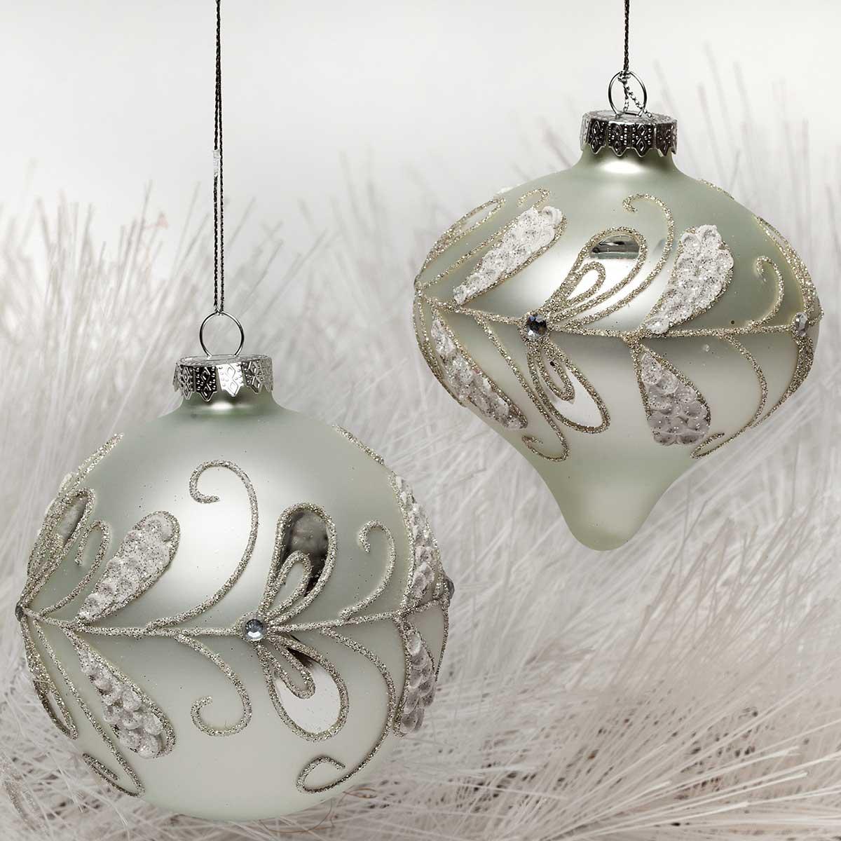 2 Piece Frost Glass Ball/Kismet Ornament Set