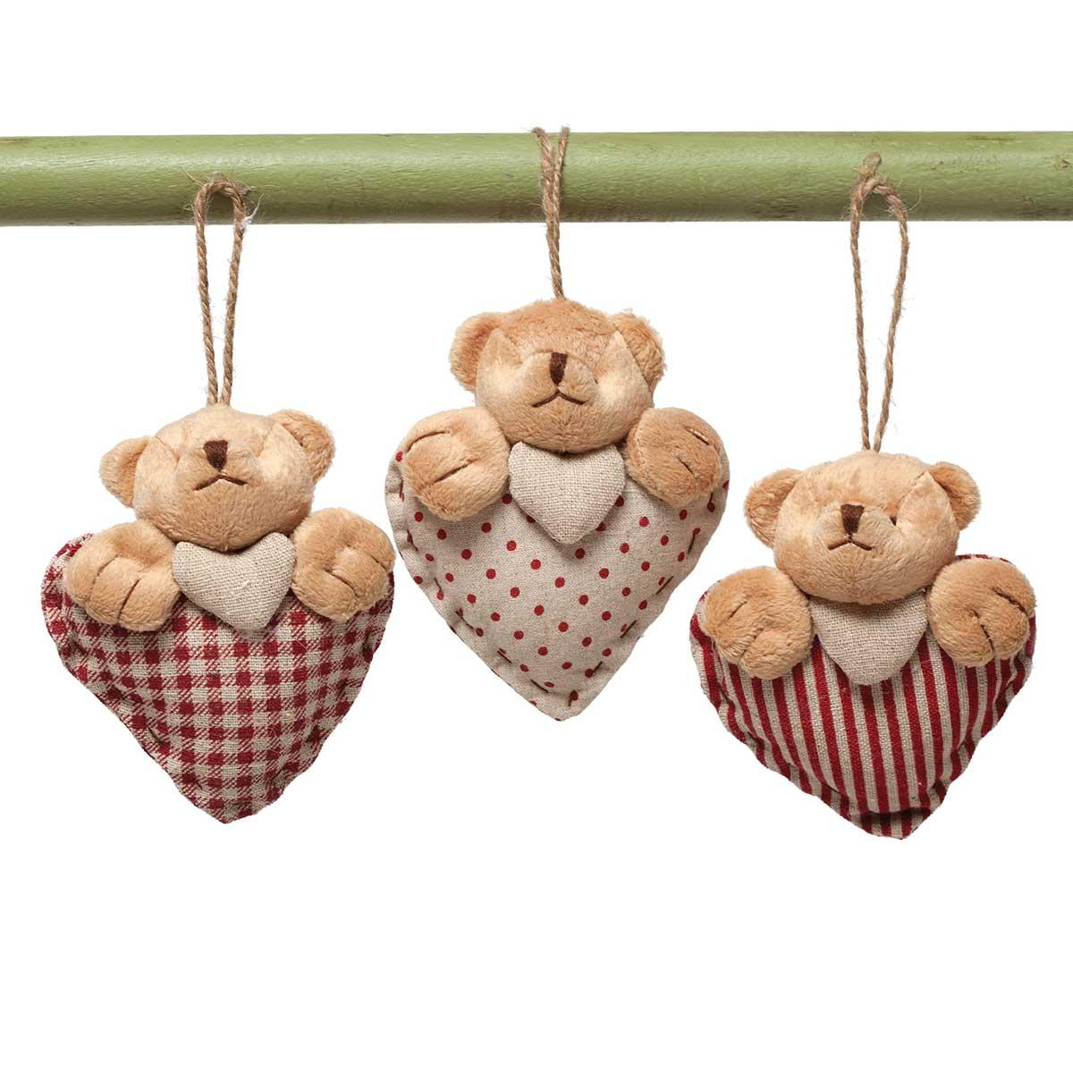 "COZY BEAR HEART ORNAMENT 4.5"" 3 ASSORTED"