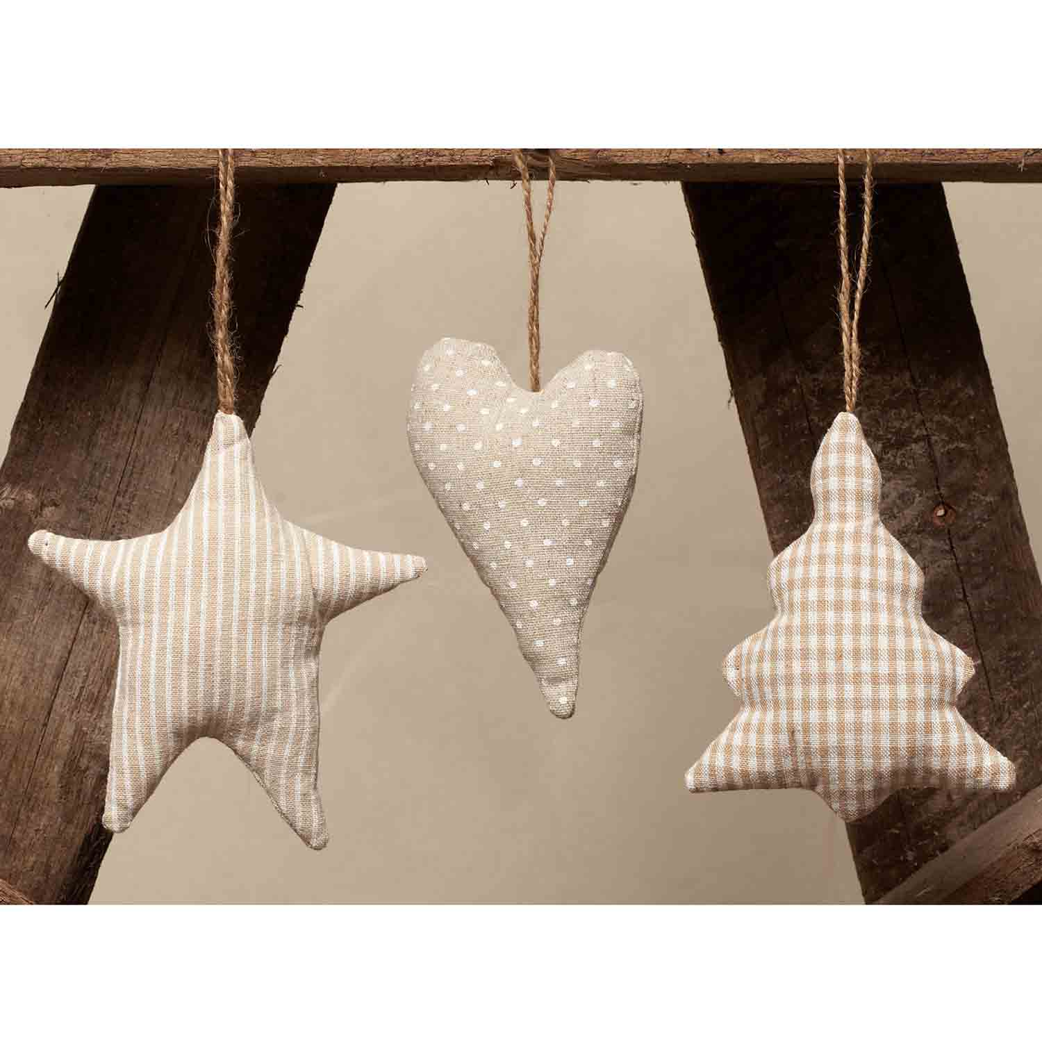 VINTAGE HEART, TREE, STAR SET OF 3