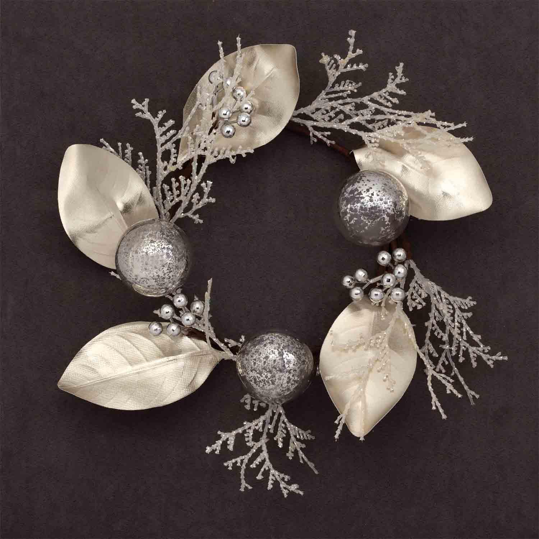 "11"" Silk Berry, Magnolia Leaf and Ball Wreath"