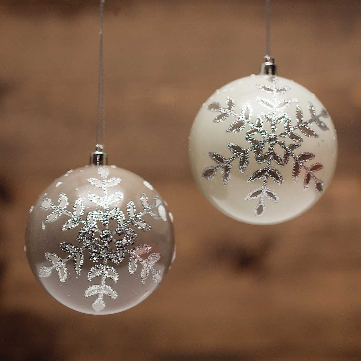 """SNOWFLAKE BALL ORNAMENT 2 ASSORTED 4"""""""