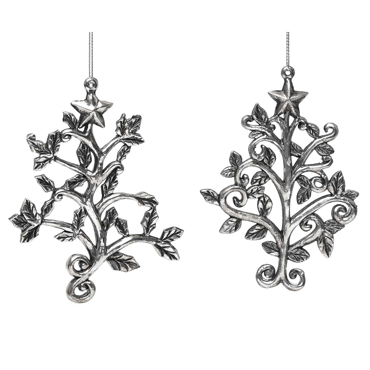 2 Piece Scrolled Tree Ornament Set