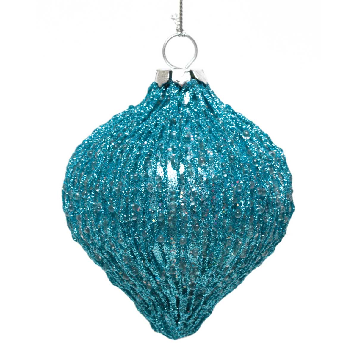 "SHIMMER KISMET ORNAMENT 6"" AQUA *70sp"