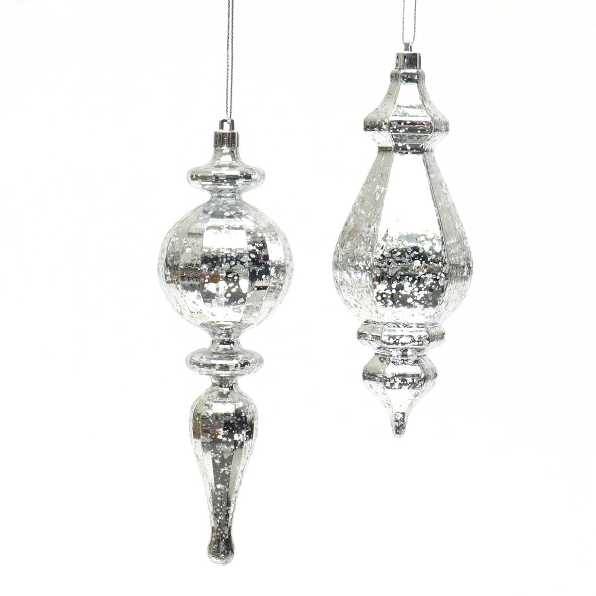 "MERCURY FINIAL ORNAMENT 2 ASSORTED 7""/7.5"" SILVER"