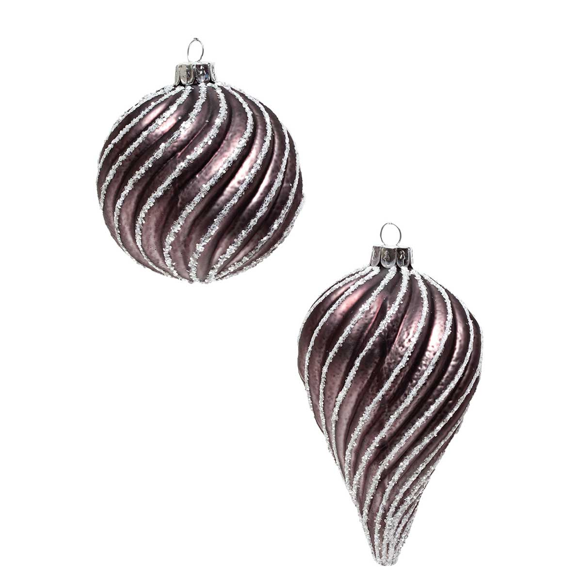 "TAUPE GLASS SWIRL ORNAMENT 4"" TEARDROP/BALL"